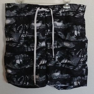Men's L ~ Merona ~ black Swim Trunks Shorts